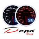 Depo Racing Digital + Analog oil temperature gauge, smoked lens